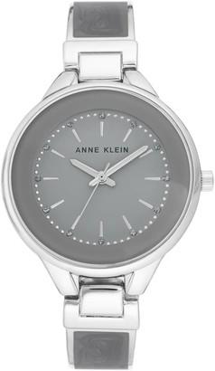 Anne Klein Womens Gray Glitter Semi-Bangle Bracelet Watch