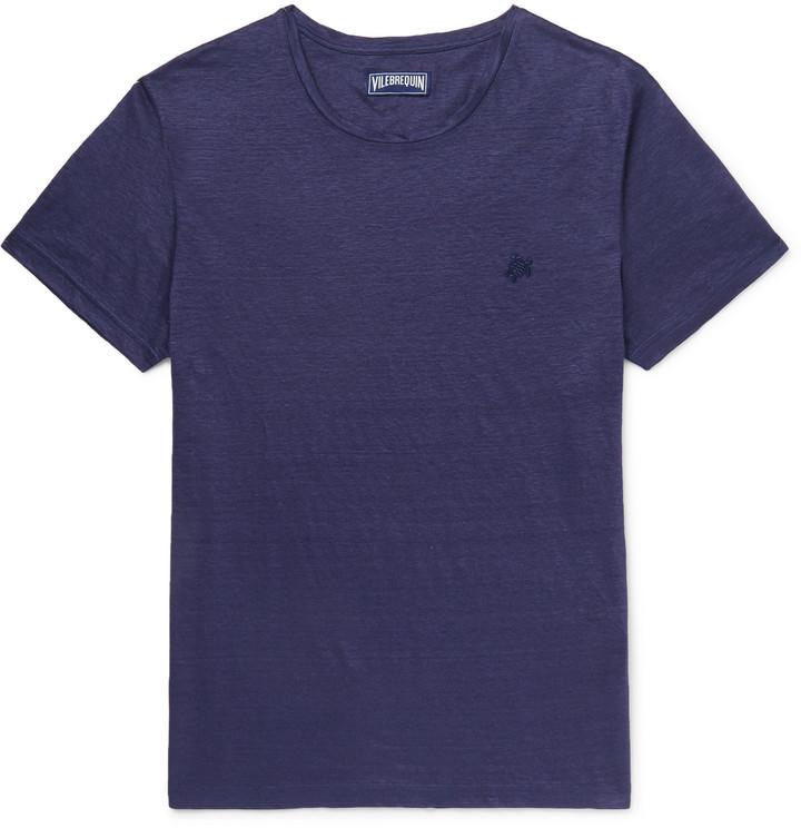 Vilebrequin Tiramisu Slim-Fit Slub Linen T-Shirt - Men - Blue