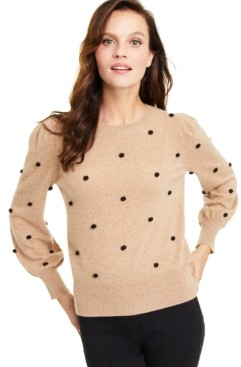 Charter Club Dotty Pom Pom Cashmere Sweater, Created for Macy's