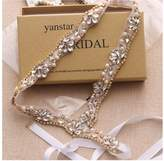 Yanstar Handmade Crystal Bridal Belts Sashes Cream Wedding Belts For Wedding Bridesmaid Dress