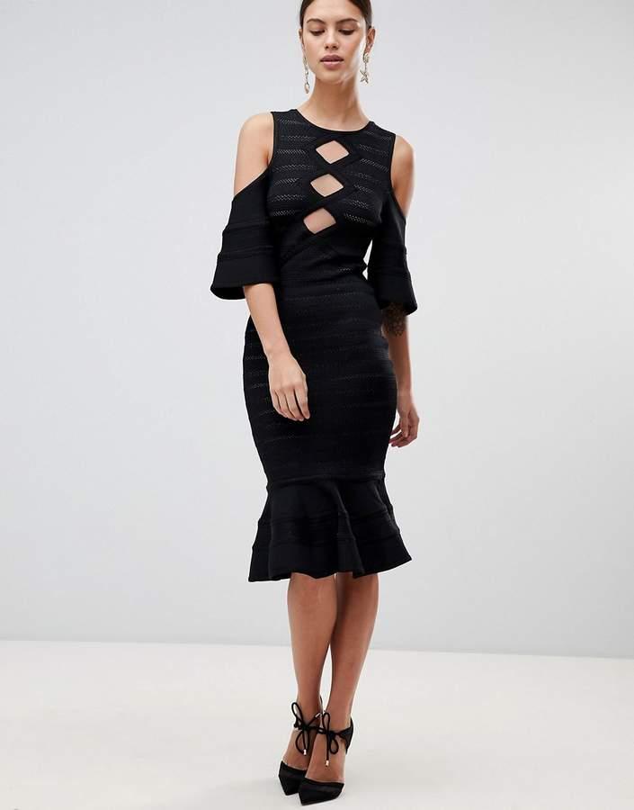 Forever Unique Cold Shoulder Dress With Peplum Hem