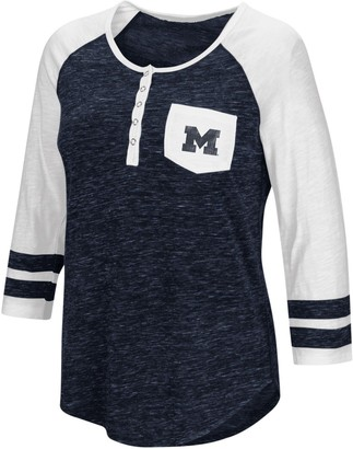 Colosseum Women's Heathered Navy Michigan Wolverines Inconceivable! Three-Quarter Sleeve Pocket Henley