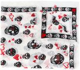 Alexander McQueen skull and heart print scarf