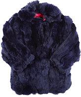 Adrienne Landau Textured Rabbit Fur Coat-BLUE