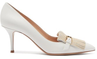Gianvito Rossi Danielle Studded-fringe Leather Pumps - White Gold
