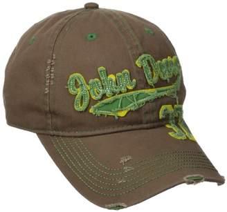 John Deere Embroidered Logo Vintage Raw Edge Baseball Hat - One-Size - Men's - Brown