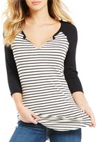 Moa Moa Striped 3/4 Sleeve Raglan Tee