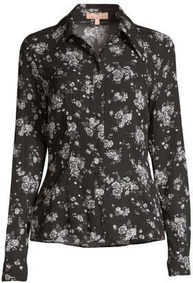 Michael Kors Crushed Floral Silk Button-Down Shirt