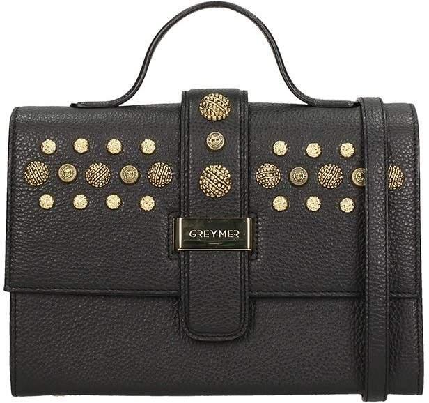 Grey Mer Black Leather Bag