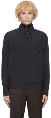 Brioni Navy Silk Bomber Shirt