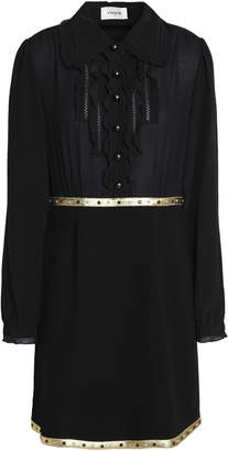 Coach Studded Lame-trimmed Crepe De Chine And Ponte Mini Shirtdress