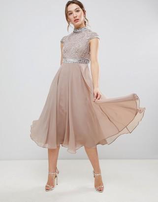 Asos Design DESIGN Premium Short Sleeve Midi Dress With Heavily Embellished Bodice-Pink