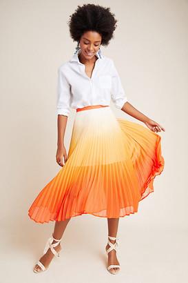 Ombre Pleated Midi Skirt By Delfi in Orange Size L