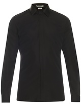 Balenciaga Leather Collar Cotton-poplin Shirt