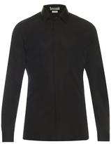 Balenciaga Leather collar cotton-poplin shirt