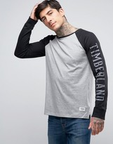 Timberland Long Sleeve Baseball Top Sleeve Logo Contrast in Gray/Black