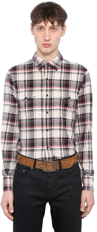 Saint Laurent Plaid Cotton Flannel Western Shirt
