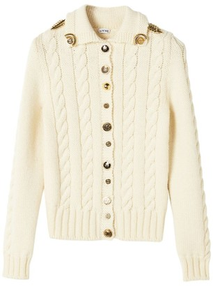 Loewe Wool Embellished Cable-Knit Cardigan