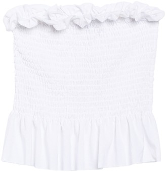 Poof Smocked Strapless Peplum Top