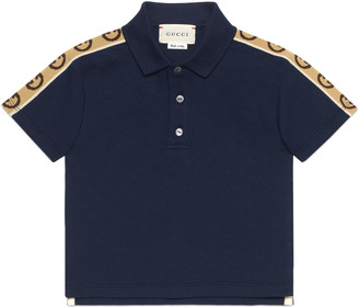Gucci Baby cotton polo with Interlocking G stripe