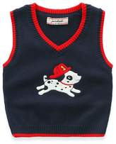 JELEUON Toddler Kids Baby Unisex V- Neck Cute Dog Print Knitted Vest Sweater Pullover