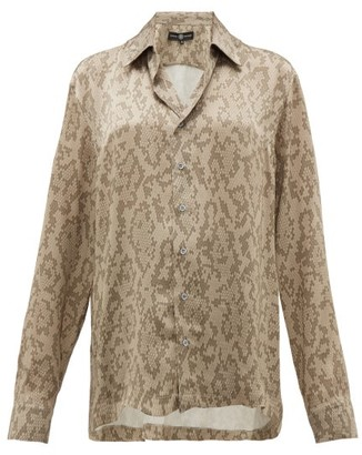 Edward Crutchley Snake-print Cuban-collar Silk Shirt - Beige Multi