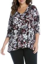 Karen Kane Plus Size Women's Print Handkerchief Hem Top