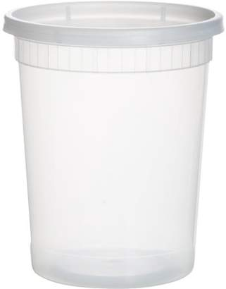 Leoney Plastic Containers for Lunch / Large Food Container with Lid, Leak Proof, Microwavable, Freezer & Dishwasher Safe, 32 Ounce, 24 Pack
