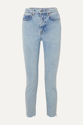 GRLFRND Karolina Frayed High-rise Slim-leg Jeans - Light denim