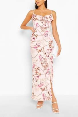 boohoo Mix Print Ruffle Maxi Dress