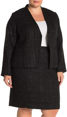 Calvin Klein Long Sleeve One Button Sparkle Blazer (Plus Size)
