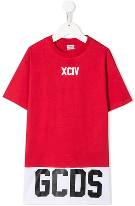 Gcds Kids logo striped T-shirt dress