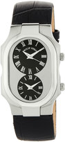 Philip Stein Teslar Large Signature Dual Time Zone Watch w/ Calfskin Strap, Black