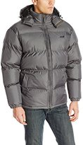 Avia Men's Puffer Jacket with Removable Hood, Black/Barn Red, Large