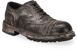 Dolce & Gabbana Men's Runway Distressed Leather Derby Shoes