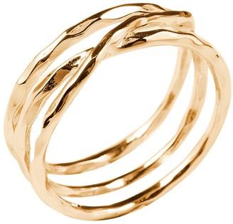 Sterling Forever 14K Gold Vermeil Textured Multi Band Ring