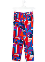 Junior Gaultier printed wide leg trousers - kids - Viscose - 14 yrs
