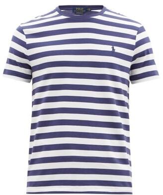 Polo Ralph Lauren Logo-embroidered Striped Cotton T-shirt - Blue White