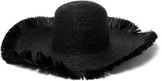 Albus Lumen - Franja Frayed Raffia Hat - Womens - Black
