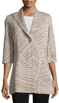 Misook Natural Lines One-Button Jacket, Almond Beige