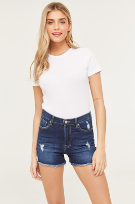 Ardene High Rise Denim Embroidered Shorts