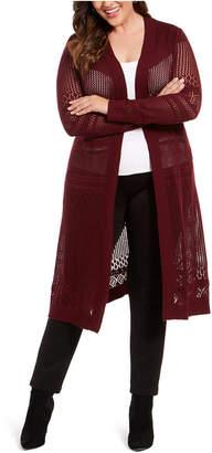 Belldini Plus Size Pointelle-Stitch Duster Cardigan