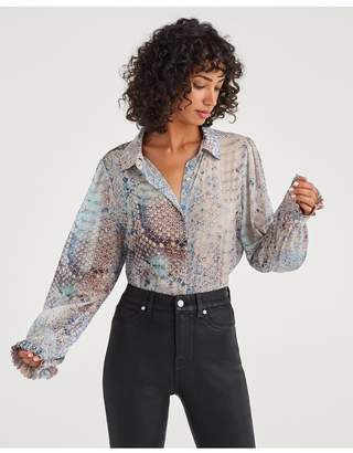7 For All Mankind Ruffle Cuff Blouse In Pink Snake