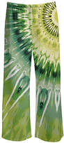 Lily Women's Casual Pants GRN - Green & Yellow Tie-Dye Sunburst Palazzo Pants - Women & Plus