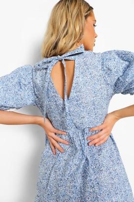 boohoo Ditsy Floral Open Back Puff Sleeve Midi Dress