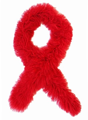 Florence Bridge Fluffy Red Tube Scarf
