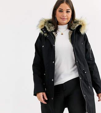 Asos DESIGN Curve parka with detachable faux fur liner-Black