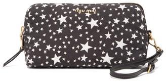 Miu Miu Star-print Nylon Wash Bag - Black White