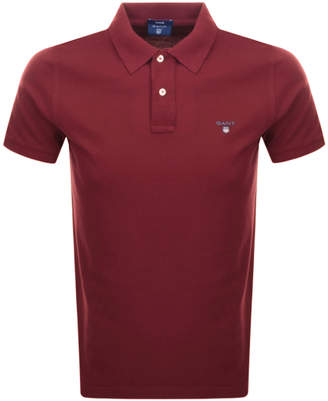 Gant Contrast Pique Rugger Polo T Shirt Red