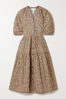Apiece Apart Mitte Leopard-print Organic Cotton-poplin Midi Dress - Leopard print
